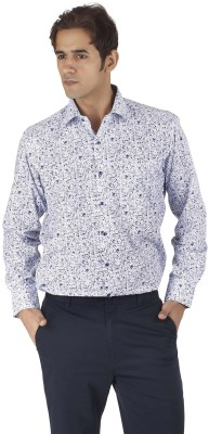 Silkina Men's Printed Formal White, Blue Shirt