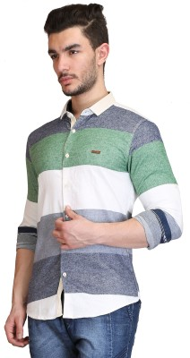 Showoff Men's Striped Casual Green Shirt