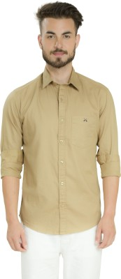 Club X Men's Self Design Formal Beige Shirt