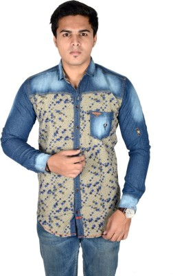 Yomaa Men's Printed Casual Denim Blue Shirt