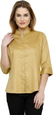 Ritzzy Women's Solid Casual Beige Shirt