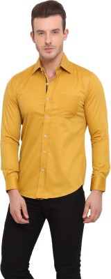 Ennoble Men's Solid Casual Yellow Shirt