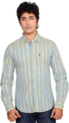 Ubho Core Men's Striped Casual Yellow Shirt