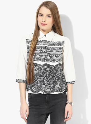 Popnetic Women's Printed Casual White Shirt