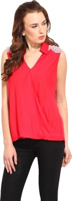 Blue Sequin Women's Solid Casual Red Shirt