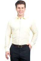 Solemio Formal Shirts (Men's) - Solemio Men's Solid Formal Linen Yellow Shirt