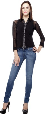 Purple Feather Women's Solid Casual Black Shirt