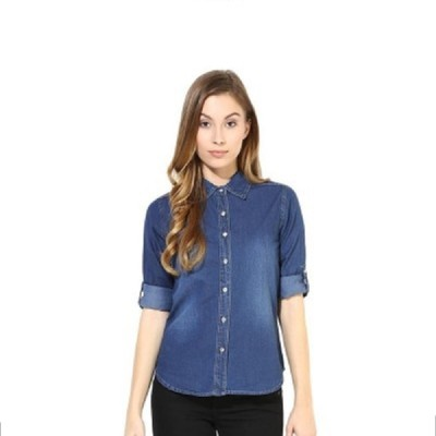 Bloomy Women's Solid Casual Blue Shirt