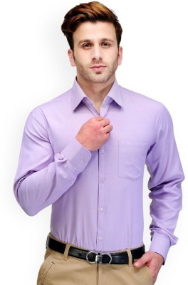Aries Men's Solid Formal Purple Shirt