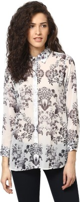Love From India Women's Floral Print Casual Black Shirt
