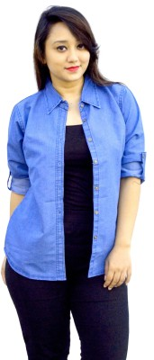 Aarti Collections Women's Solid Casual, Formal Denim Light Blue Shirt