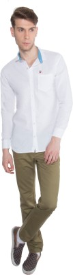 Nine Club Men's Solid Casual White Shirt