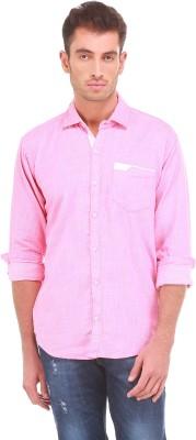Sleek Line Men's Solid, Self Design Casual Pink Shirt