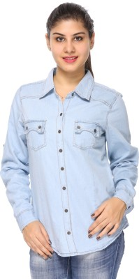 Fashion By Netanya Women's Solid Casual Denim Light Blue Shirt