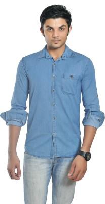 British Terminal Men's Self Design Casual Blue Shirt