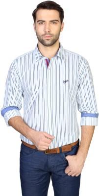 University of Oxford Men's Striped Casual White Shirt