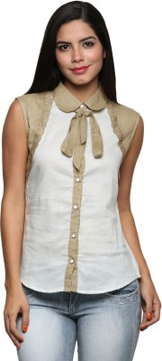 The Cleavage Women's Solid Casual Beige Shirt