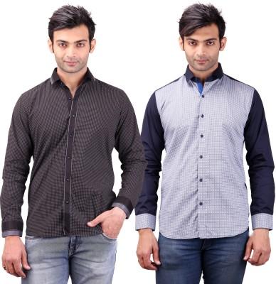 Clubstone Men's Self Design Formal Black, Blue Shirt