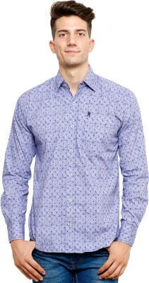 Ebry Men's Printed Casual Purple Shirt