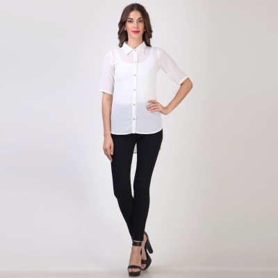 Vvine Women's Solid Casual White Shirt