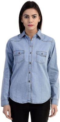 TwiQ S.A. Garments Women's Solid Formal Reversible Denim Light Blue Shirt