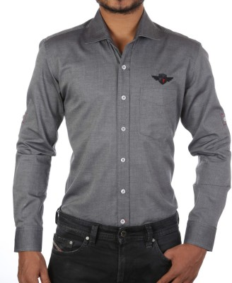 FORTY ONE FITZROY Men's Woven Casual Grey Shirt