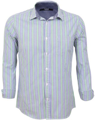 Legato Men's Striped Wedding, Casual, Party, Formal Green, Blue, White Shirt