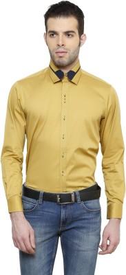 RICHARD COLE Men's Solid Formal Yellow Shirt