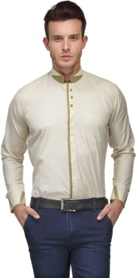 Ausy Men's Solid Casual Beige Shirt