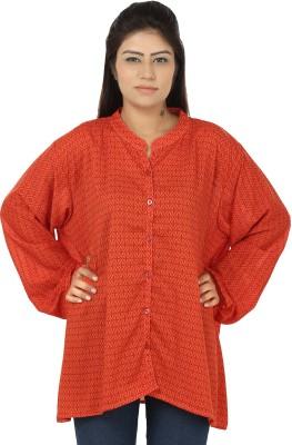 Chic Fashion Women's Printed Formal Orange Shirt
