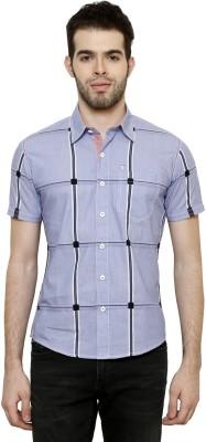 True Tittos Men's Checkered Casual Light Blue, Black, White Shirt