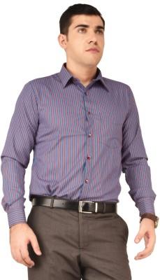 Hyphen Men's Striped Formal Blue, Red Shirt