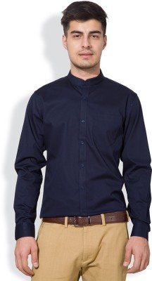 Black Coffee Men's Solid Formal Dark Blue Shirt