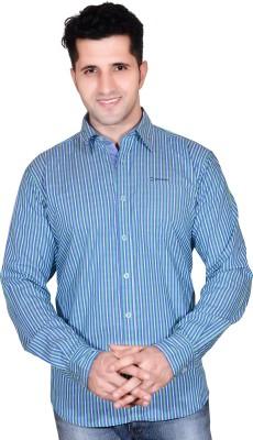 Denimize Men's Striped Casual Green Shirt