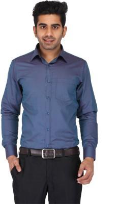 Prague Fashion Men's Self Design Formal Dark Blue Shirt
