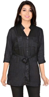 Jazzy Ben Women's Solid Casual Black Shirt