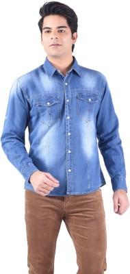 Passport Men's Self Design Casual, Festive, Formal, Party Light Blue Shirt