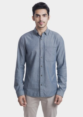 Bhane Men's Solid Casual Blue Shirt