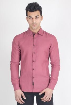 Suchos Men's Solid Casual Linen Pink Shirt