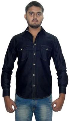 The GreeK Men's Solid Casual Denim Black Shirt