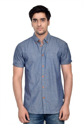 Parv Collections Men's Solid Casual Blue Shirt