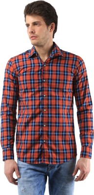 Orizzonti Men's Checkered Casual Maroon Shirt