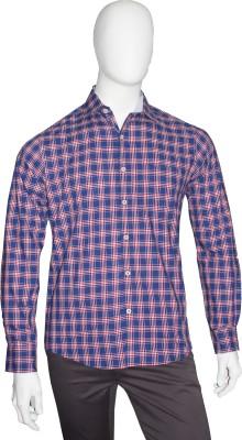 Cotton Natural Men's Checkered Casual Dark Blue, Red Shirt