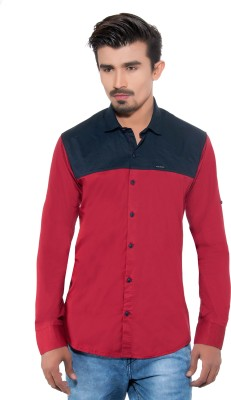 Grey Booze Men's Solid Casual Red, Blue Shirt