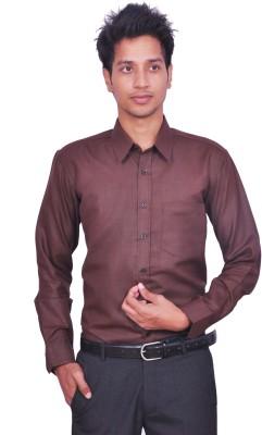 Leaf Mens Solid Formal Brown Shirt