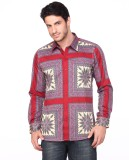 Fire & Ice Men's Printed Casual Maroon S...