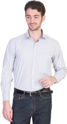 Menmark Men,s Checkered Formal White, Blue Shirt