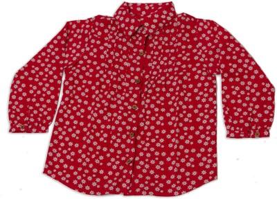 Nino Bambino Girl's Floral Print Casual Red Shirt