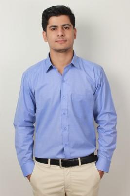 Frissk Men's Solid Formal Blue Shirt