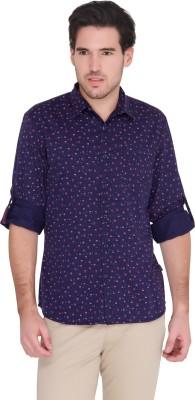 Identiti Men's Printed Casual Blue Shirt